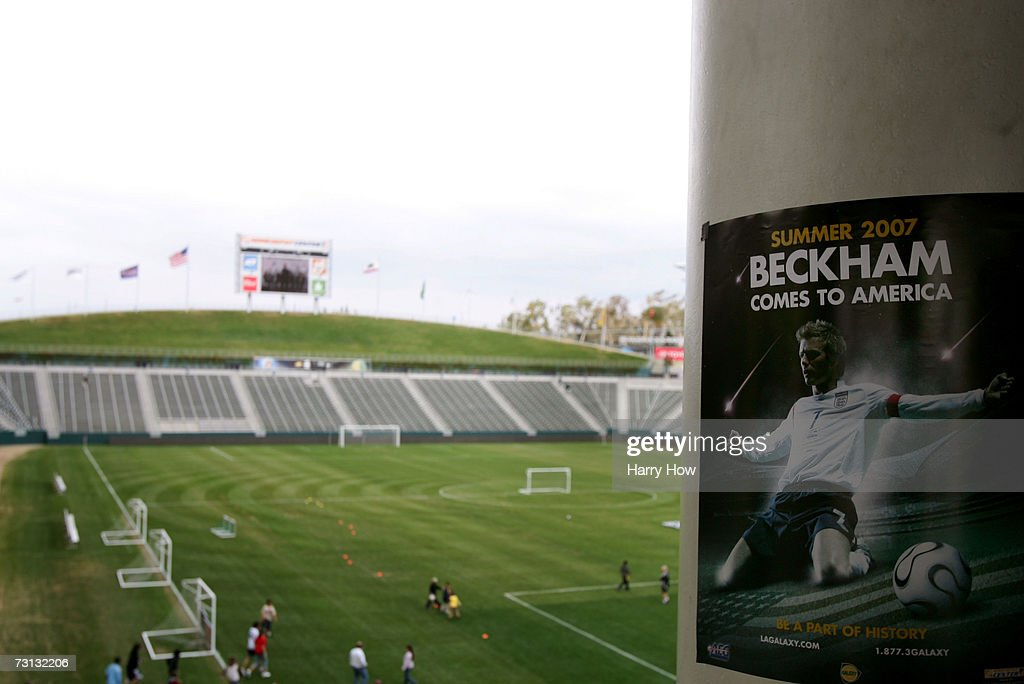 A poster of David Beckham during the Open House for season ticket sales at the Home Depot Center on January 27 2007 in Carson California