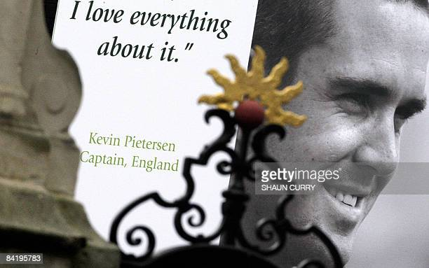 A poster of former England cricket captain Kevin Pietersen is pictured at Lord's cricket ground in London on January 7 2009 Confusion surrounded the...