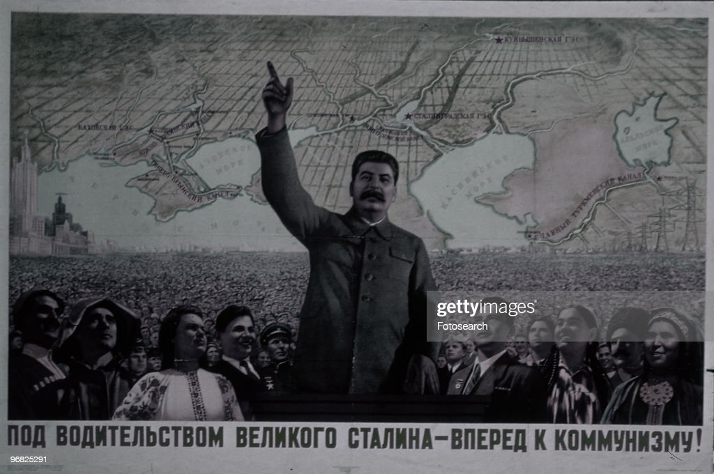 A Poster of <a gi-track='captionPersonalityLinkClicked' href=/galleries/search?phrase=Joseph+Stalin&family=editorial&specificpeople=91259 ng-click='$event.stopPropagation()'>Joseph Stalin</a> with his Arm Raised circa 1922.