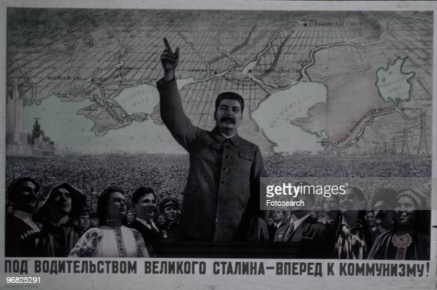 A Poster of Joseph Stalin with his Arm Raised circa 1922