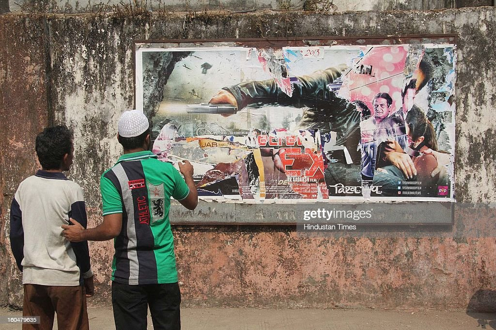 Poster of Kamal Hassan's film Vishwaroopam torn by Muslim residents of Mumbra during its screening at local Alishan theater on February 1 2013 in...