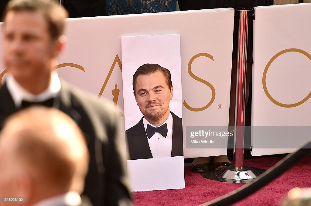 A poster of Leonardo DiCaprio sits on the red carpet at the 88th Annual Academy Awards at Hollywood & Highland Center on February 28, 2016 in Hollywood, California.