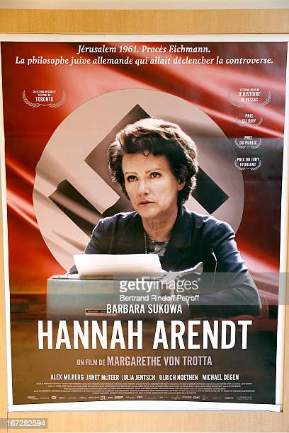Poster of movie at 'Hannah Arendt' Paris movie Premiere held at Majestic Passy on April 23 2013 in Paris France