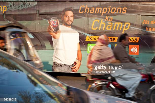 A poster of Pakistan National Cricket Team captain Shahid Afridi on the side of a bus in Lahore Pakistan in the runup to the 2011 ICC World Cup...