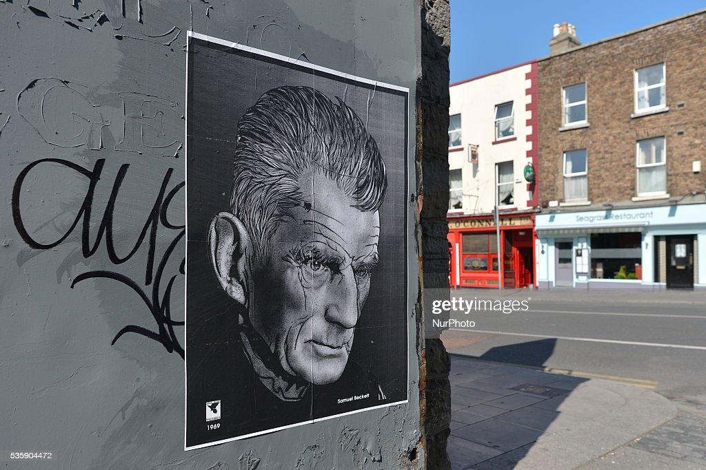 A poster of Samuel Beckett (an Irish avant-garde novelist, playwright, theatre director, and poet,) seen in Rathmines. On Monday, 30 May 2016, in Dublin, Ireland.