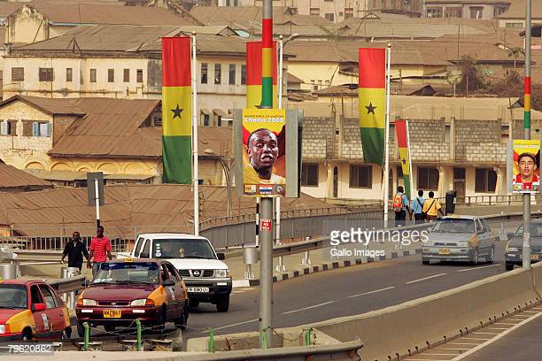 A poster of South African striker Benni McCarthy with a South Africa's old Flag is displayed around Kumasi town' streets February 7 2008 in Kumasi...