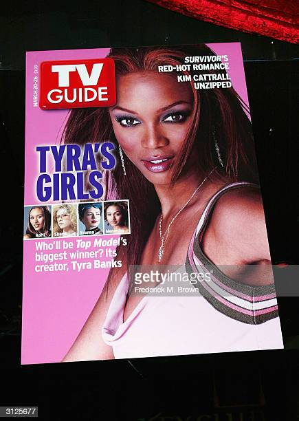A poster of Supermodel Tyra Banks on display at UPN'S 'America's Next Top Model' finale party held at the Key Club March 23 2004 in Hollywood...
