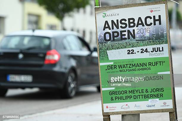 A poster of the 'Ansbach Open 2016' music festival is seen on July 25 2016 in Ansbach Germany According to police a 27yearold Syrian who had been...