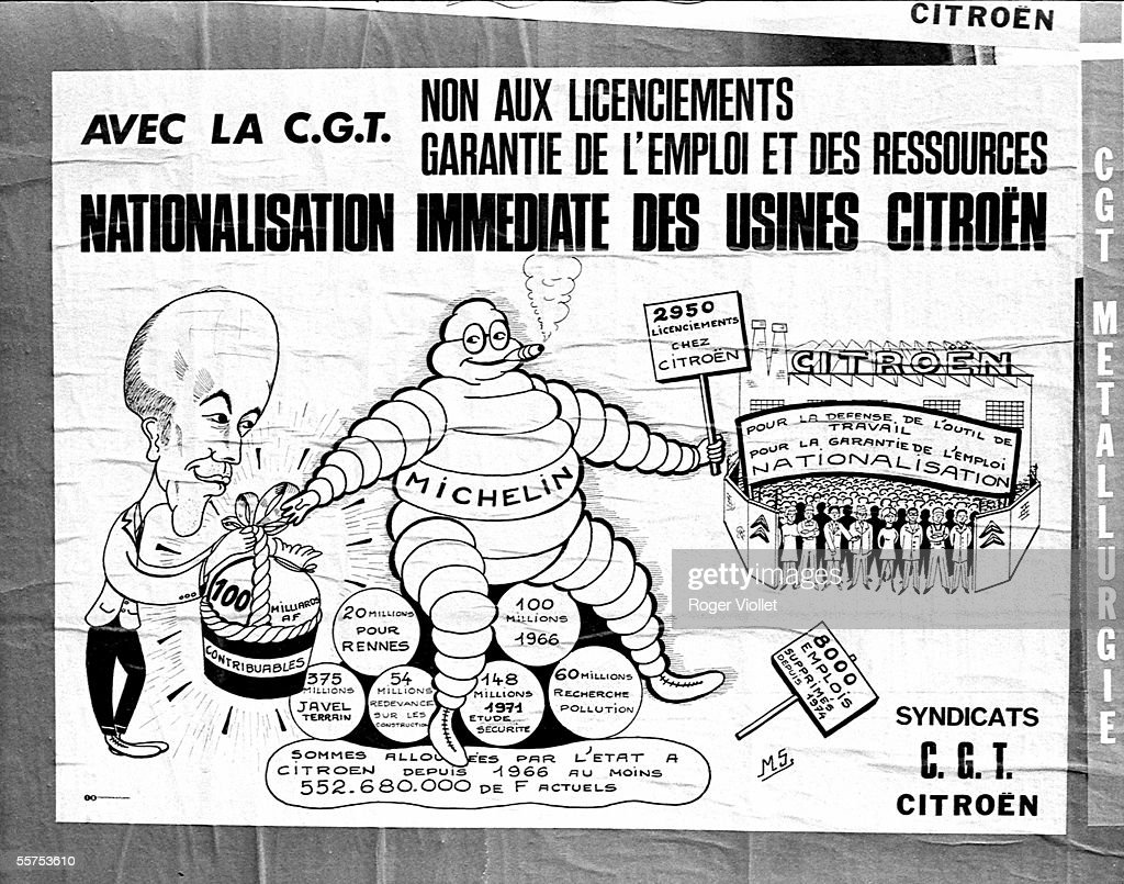 Poster of the CGT with a caricature of Valery Giscard d'Estaing demanding Citroen's nationalization Paris On 1975 HA41206