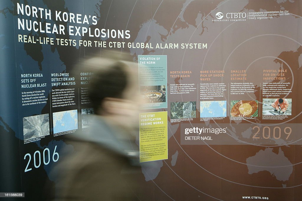 A poster of the Comprehensive Nuclear-Test-Ban Treaty Organization (CTBTO) concerning nuclear tests of North Korea is seen on February 12, 2013 at the CTBTO headquarters in Vienna. Iran hinted Tuesday that inspection of the Parchin military site by the International Atomic Energy Agency would be possible in the context of a 'comprehensive agreement' that recongnises its right to peaceful nuclear energy.