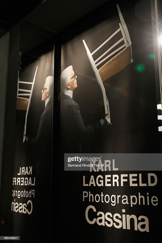 Poster of the Karl Lagerfeld Photo Exhibition Preview at the Showroom Cassina on January 31, 2013 in Paris, France.