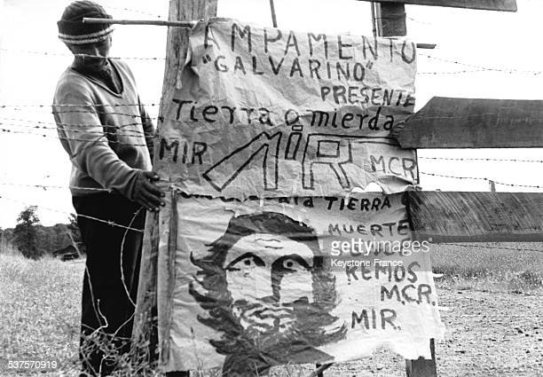 Poster of the Mapuche claims in Chile in February 1971 demanding especially the attribution of land in Mapuche