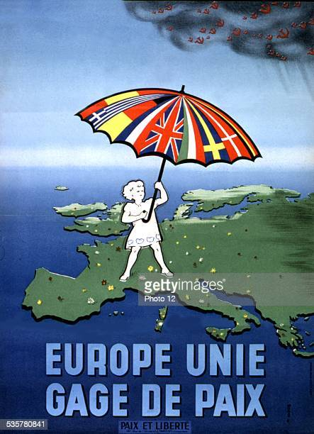 Poster of the movement 'Peace and liberty' Anticommunist propaganda during Cold War Europe united against Communists France Washington Library of...