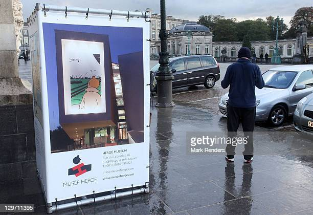 A poster of Tintin is displayed near the Royal Palace on the Tintin route on October 19 2011 in Brussels Belgium