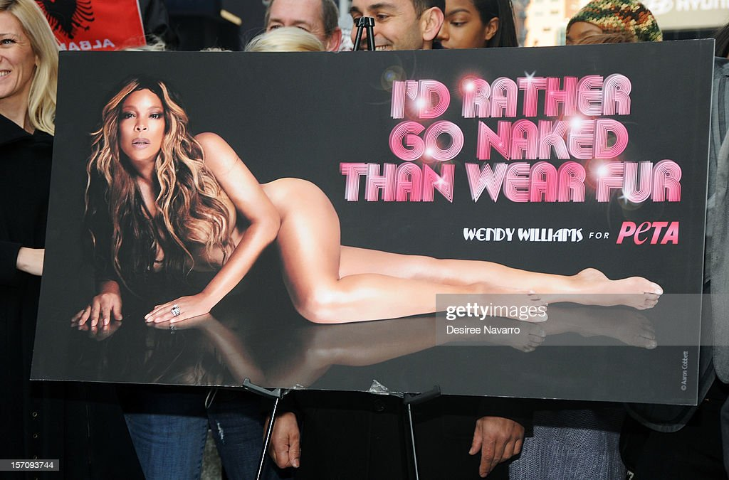 Poster of <a gi-track='captionPersonalityLinkClicked' href=/galleries/search?phrase=Wendy+Williams&family=editorial&specificpeople=4134023 ng-click='$event.stopPropagation()'>Wendy Williams</a> 'I'd Rather Go Naked Than Wear Fur' Winter PETA Campaign Launch at Times Square on November 28, 2012 in New York City.