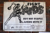 A poster on the wall at St Bernadette's Centre for the blind on February 24 2013 in Maseru Lesotho Sentebale is a charity founded by Prince Harry and...