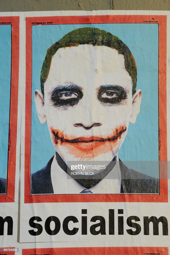 A poster portraying US President <a gi-track='captionPersonalityLinkClicked' href=/galleries/search?phrase=Barack+Obama&family=editorial&specificpeople=203260 ng-click='$event.stopPropagation()'>Barack Obama</a> as 'The Joker' from the Batman movie 'The Dark Knight' is visible on a highway pillar in Los Angeles, California on August 07, 2009. While the number of physical poster appears to be small as actual sighting of the poster are very rare, the anonymously-designed image has stired up a huge controversy in traditional and online media due to it's availability on the internet.