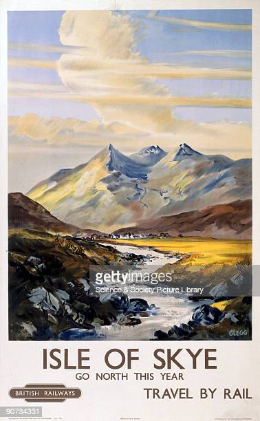 Poster produced by British Railways to promote rail and train services to the Isle of Skye Artwork by Clegg