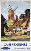 Poster produced by British Railways to promote rail services to Cambridgeshire Artwork by Kenneth Steel