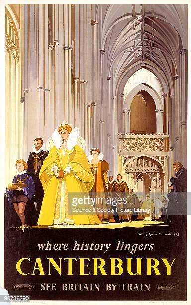 Poster produced by British Railways to promote rail travel to Canterbury Kent The poster shows the state visit of Queen Elizabeth to Canterbury in...