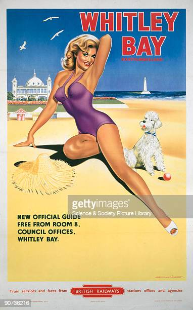 Poster produced by British Railways to promote train services to Whitley Bay Tyne and Wear Artwork by Davies