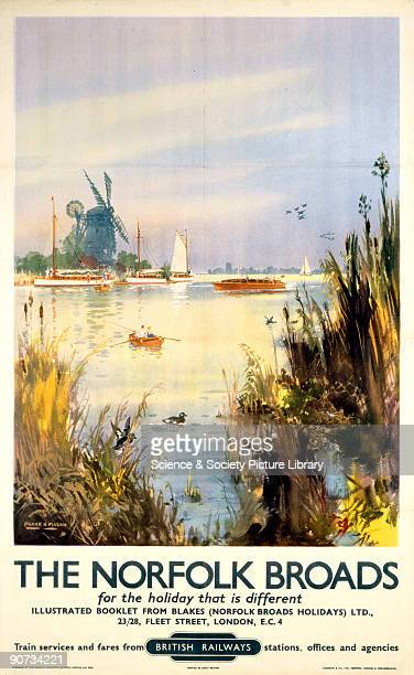 Poster produced by British Railways to promote train services to the Norfolk Broads Artwork by Frank Henry Mason who was educated at HMS Conway and...
