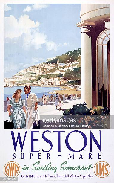 Poster produced by Great Western Railway and London Midland Scottish Railway to promote rail travel to the popular resort of WestonsuperMare �in...