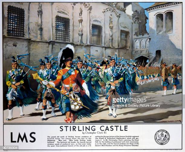 Poster produced by London Midland Scottish Railway to promote rail travel to Stirling in Scotland The poster shows a procession of the Scottish...