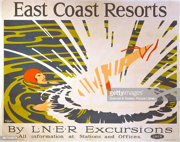 Poster produced by London North Eastern Railway to promote rail services to the resorts on the East Coast of England Artwork by Tom Purvis who...