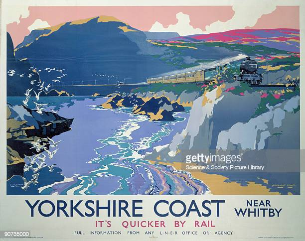Poster produced by London North Eastern Railway to promote rail travel to the Yorkshire coast The poster shows a bird�seye view of the coast near...