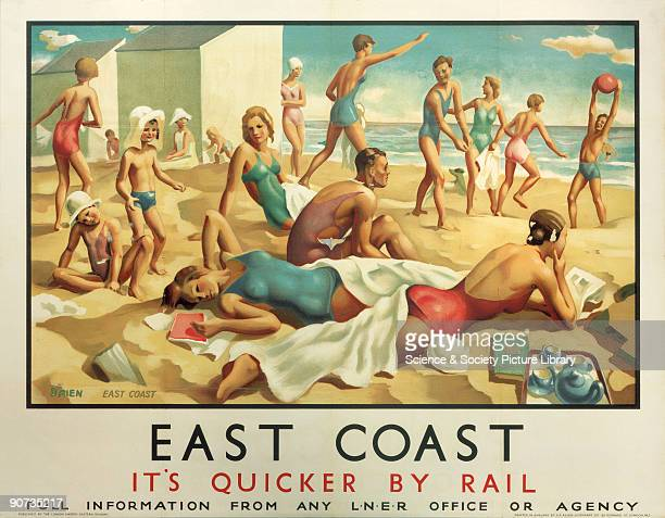 Poster produced by London North Eastern Railway to promote rail travel to the East Coast of England The poster shows a crowd of young people in...