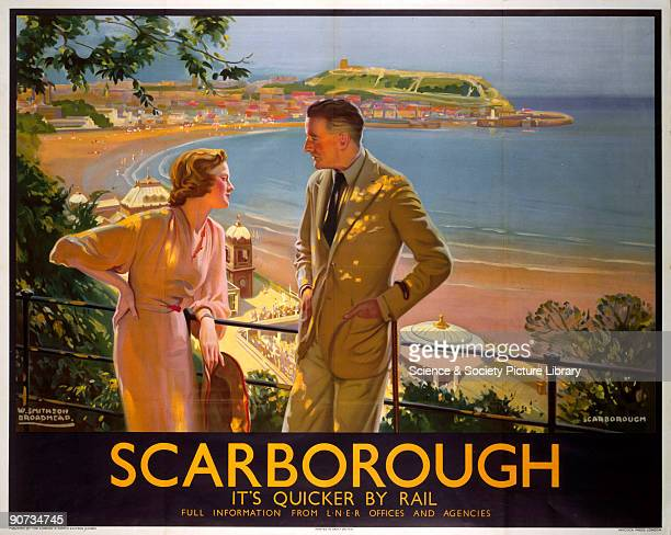 Poster produced by London North Eastern Railway to promote train services to Scarborough North Yorkshire Artwork by W Smithson Broadhead a painter of...