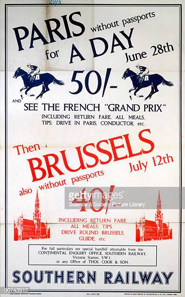 Poster produced by Southern Railway to promote services to Paris to see the French Grand Prix and to Brussels Artwork by an unknown artist