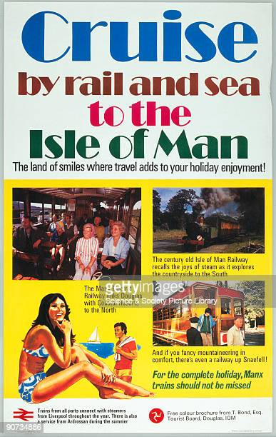 Poster produced for British Rail advertising holidays to the 'land of smiles' featuring photographs of the Isle of Man Railway and the Manx Electric...