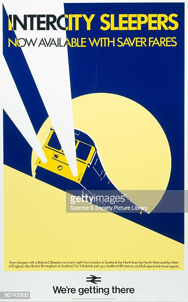 Poster produced for British Rail Central Advertising Services showing an intercity sleeper train travelling by night with the full moon seen in the...