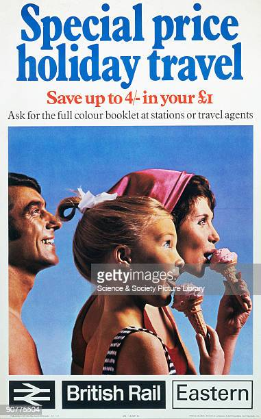 Poster produced for British Rail Eastern Region promoting special fares for holiday travel showing a family dressed for the beach eating ice creams...