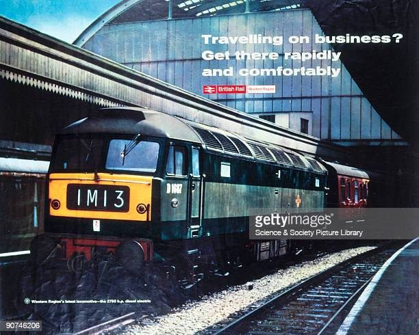 Poster produced for British Rail promoting the new 2750 hp D1687 diesel electric locomotives for rapid and comfortable business travel