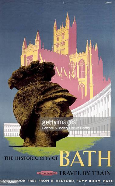 Poster produced for British Rail showing the stone head of a Roman centurion the Royal Crescent and the cathedral Artwork by Lander