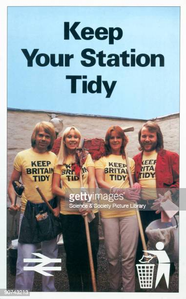 Poster produced for British Rail showing the Swedish pop group 'Abba' carrying cleaning equipment and wearing tshirts emblazoned with the slogan...