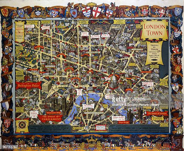 Poster produced for British Rail to promote London as a historic city that is easily reached by train The poster shows a detailed aerial map of...