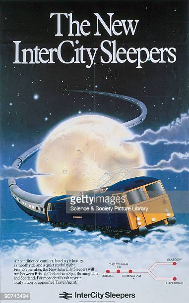 Poster produced for British Rail to promote the company�s new sleeper service between Bristol and Scotland The poster shows a train winding its way...