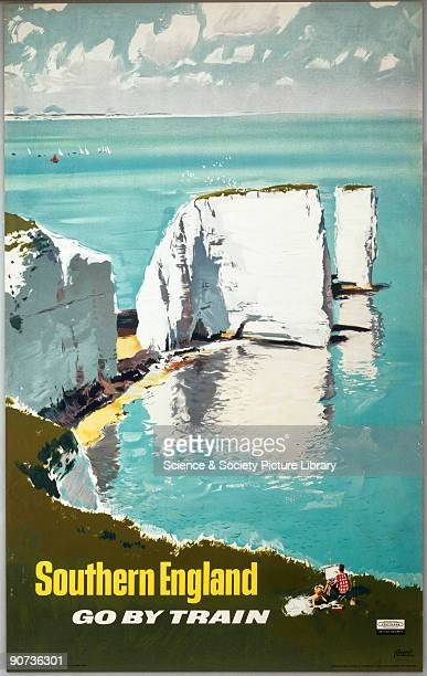 Poster produced for British Rail to promote the South Coast railway route showing a man sketching white cliffs Artwork by A Brenet