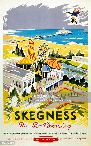 Poster produced for British Railways Eastern Region showing a view of the Embassy Ballroom and a funfair at the Lincolnshire seaside resort of...