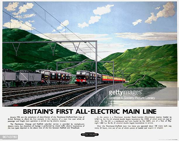 Poster produced for British Railways London Midland Region promoting the first main line service in Britain to operate all freight and passenger...