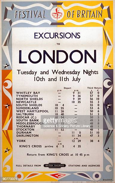 Poster produced for British Railways North Eastern Region promoting rail travel to the 1951 Festival of Britain in London showing a timetable of...
