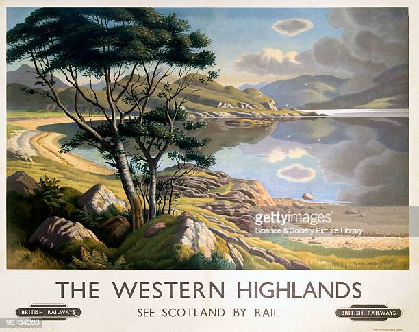 Poster produced for British Railways Scottish Region to promote rail travel to the Scottish Highlands showing a loch with mountains in the background...