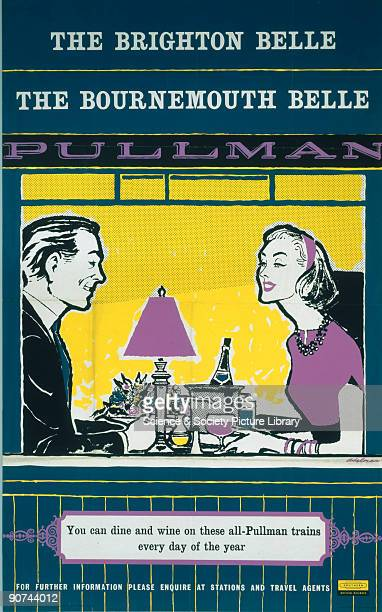 Poster produced for British Railways Southern Region promoting drinking and dining facilities on the pullman carriages on the Brighton Belle and...