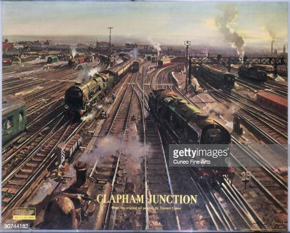 Poster produced for British Railways Southern Region showing steam locomotives on the tracks at Clapham Junction London Artwork by Terence Cuneo...