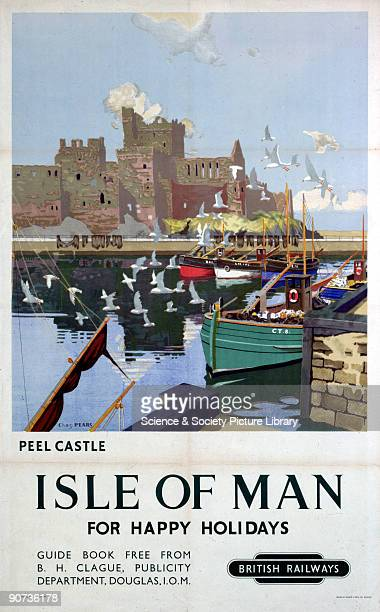 Poster produced for British Railways to promote rail and sea services to the Isle of Man Artwork by Charles Pears a marine painter in oil who was an...