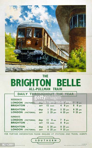 Poster produced for British Railways to promote rail services between London Victoria and Brighton on the Brighton Belle Artwork by Barber